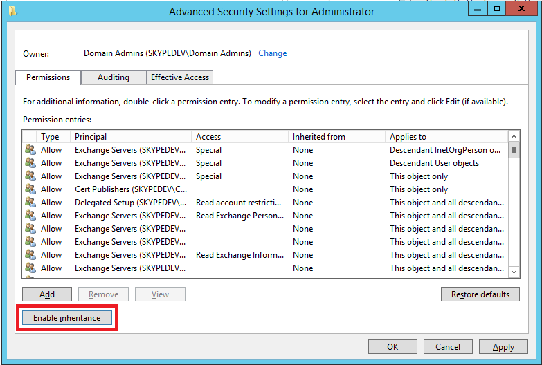 How to enable a Domain Admin for Skype for Business-Sharing