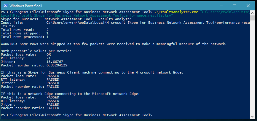 Network Assessment Tool for Skype for Business and Microsoft