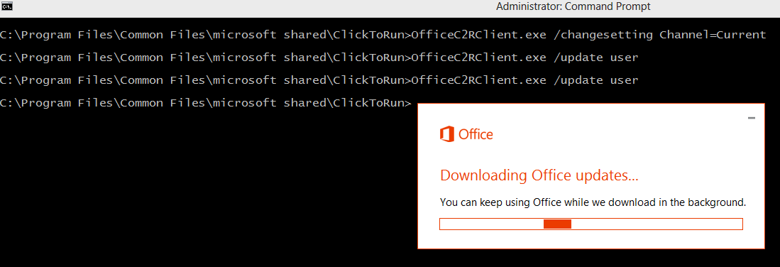 Switch Office 2016 to Monthly Targeted Channel-Sharing Knowledge