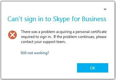 Can't sign in to Skype – There was a problem acquiring a
